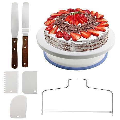 Plato para tartas Queta, giratorio, soporte para decorar tartas horneadas, con accesorios,