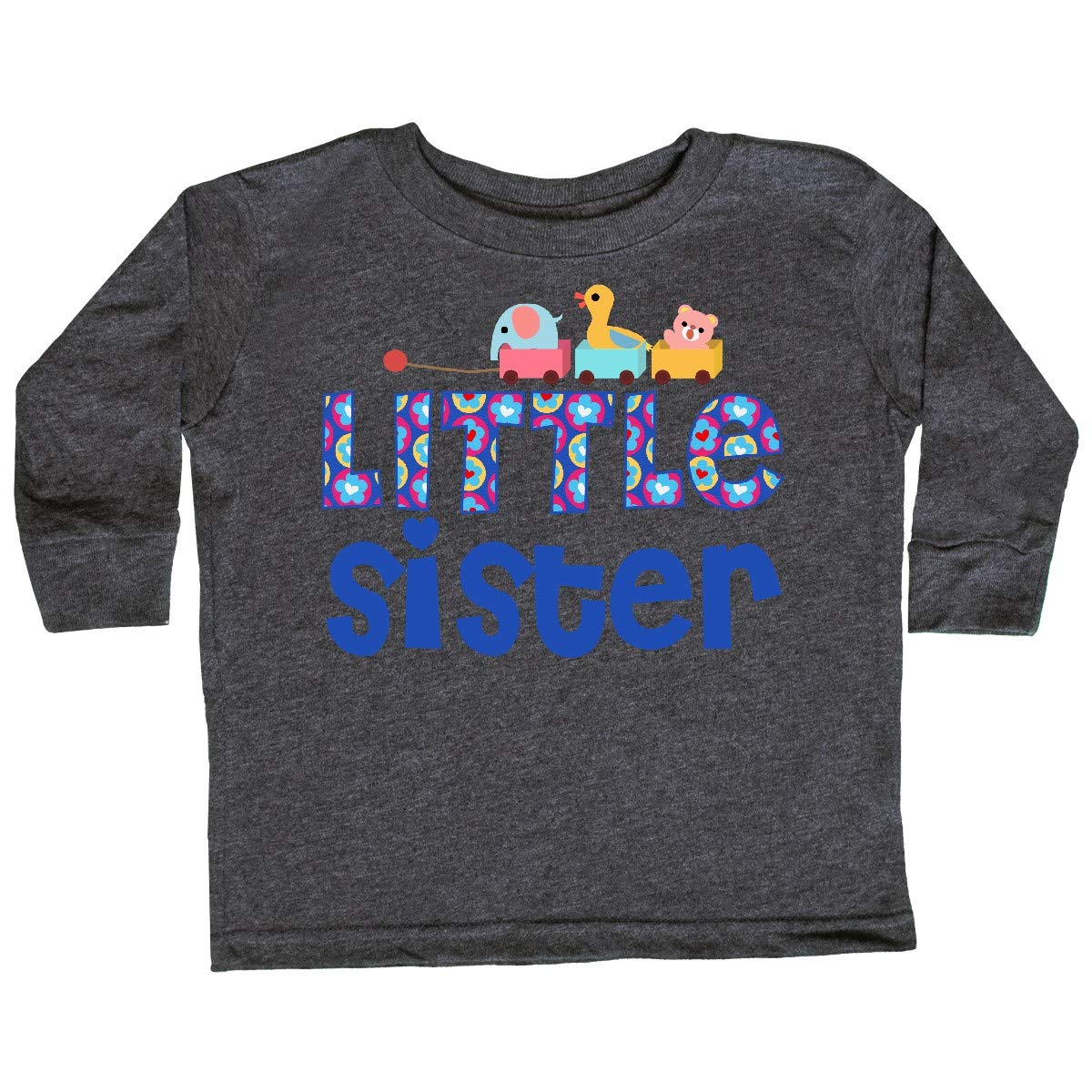 inktastic Toy Train Little Sister Gifts Toddler Long Sleeve T-Shirt