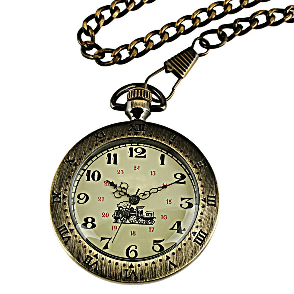 Open Face Hand-Winding Mechanical Pocket Watch Mens Bronze Case Wedding Gift
