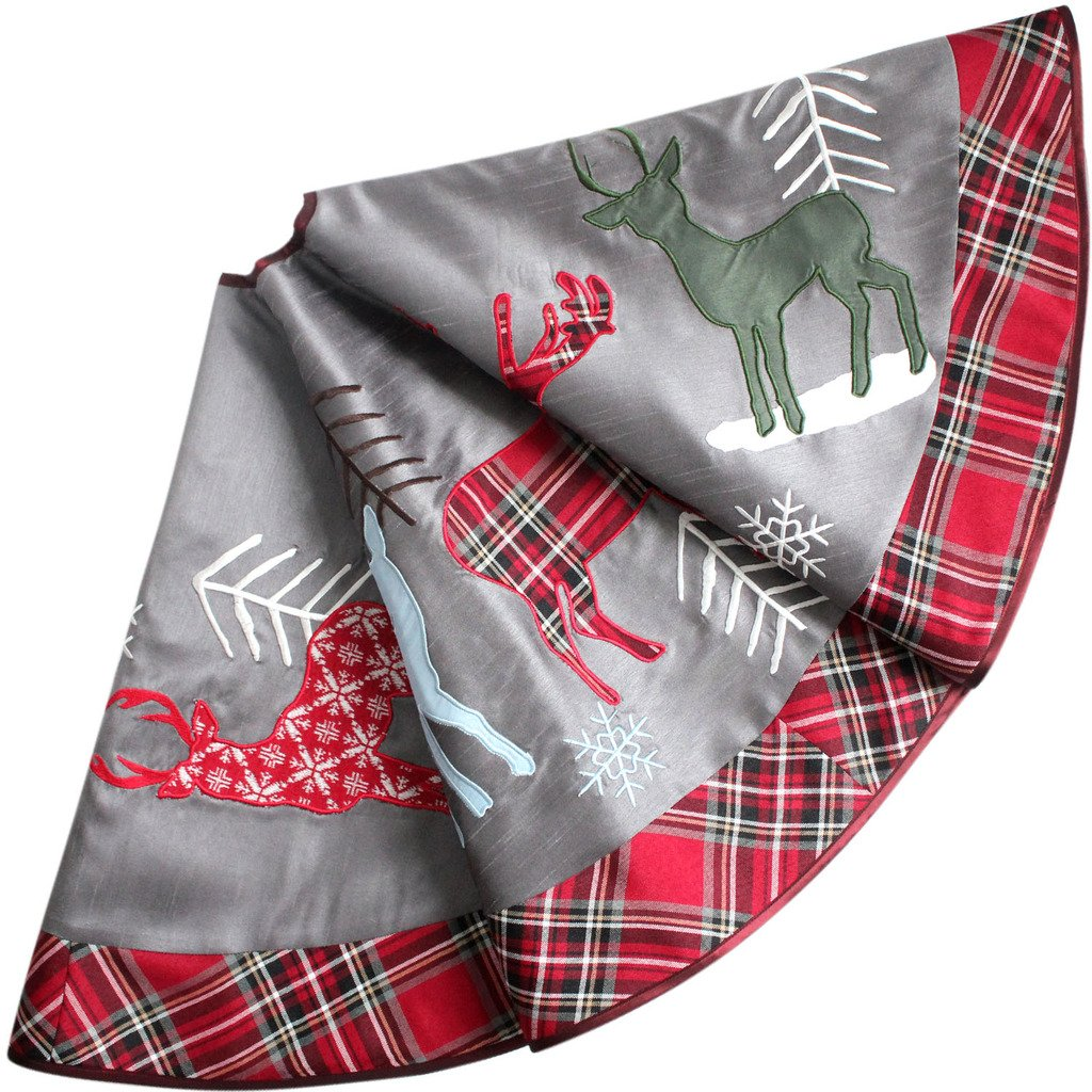Silver Reindeer Plaid Christmas Tree Skirt