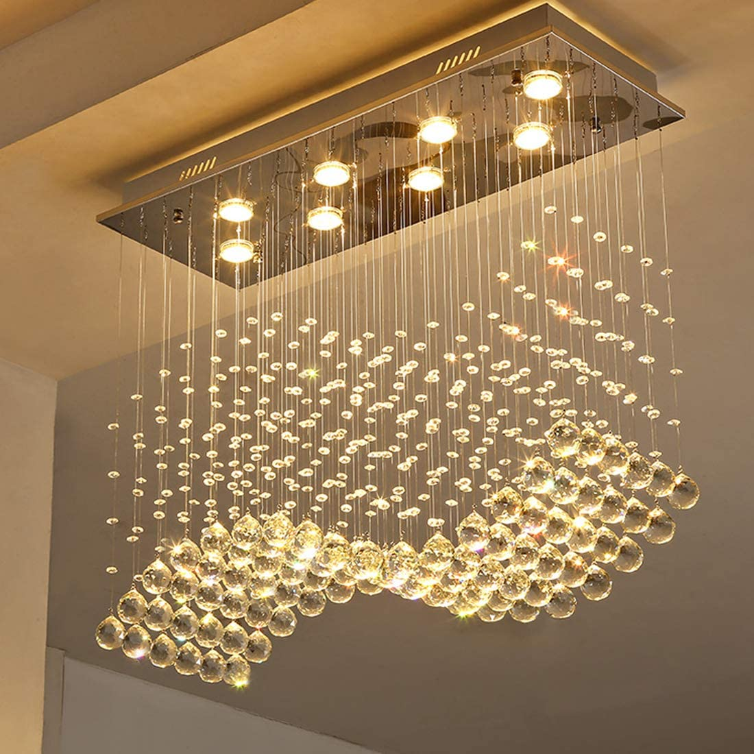 Moooni Modern Rectangular Crystal Chandelier Lighting Wave Raindrop Pendent Flush Mount Ceiling Light Fixture for Dining Room L31.5 x W11.8 x H27.6