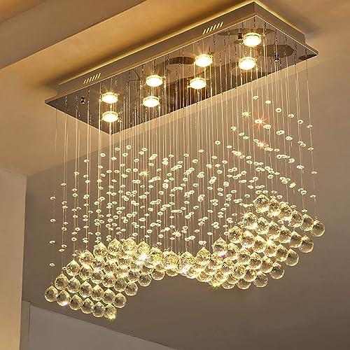 Moooni Modern Rectangular Crystal Chandelier Lighting Wave Raindrop Pendent Flush Mount Ceiling Light Fixture