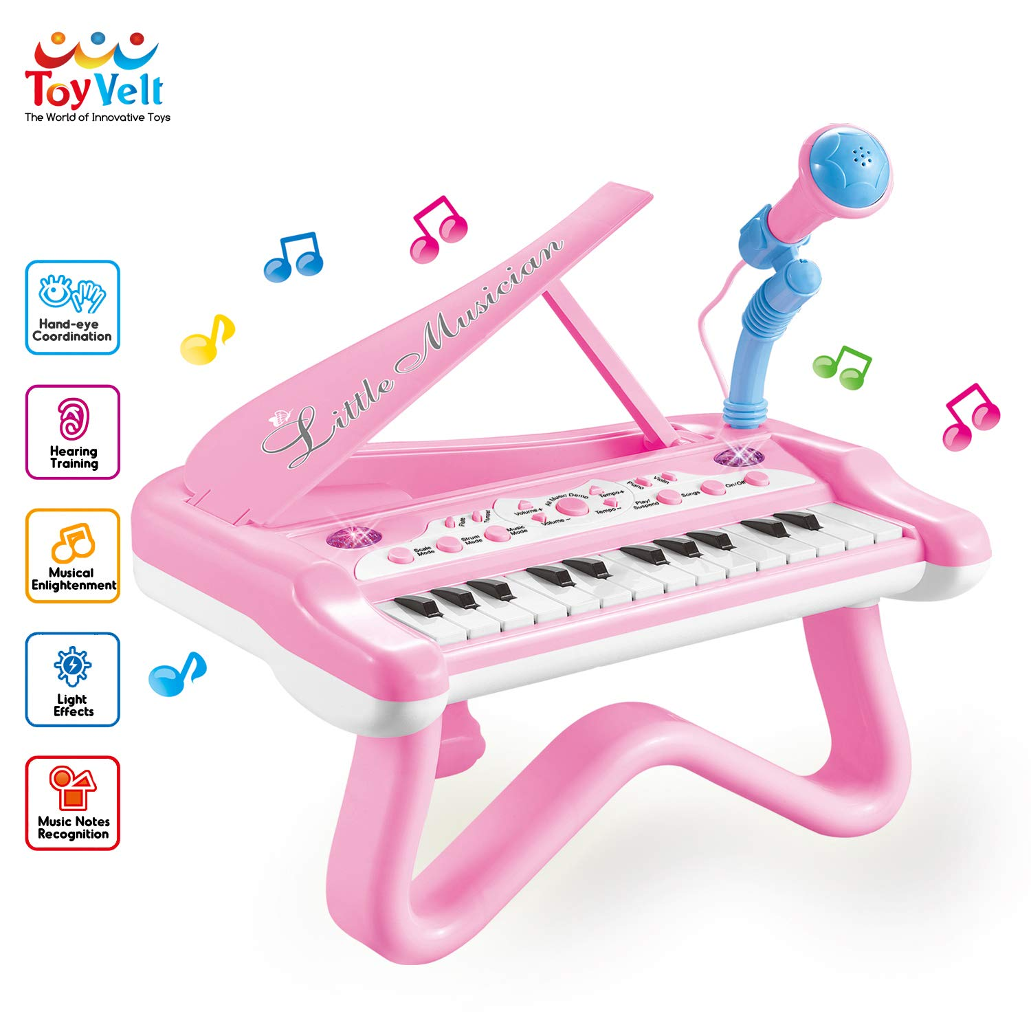 ToyVelt Toy Piano for Toddler Girls - Cute Piano for Kids with Built-in Microphone & Music Modes - Best Birthday Gifts for 2 3 4 5 Year Old Girls - Educational Keyboard Musical Instrument Toys by ToyVelt