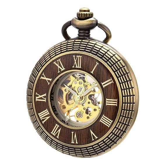 Relojes de Bolsillo para Hombres Cuerda Manual Esunlink Reloj de Bolsillo mecánico Hunter Skeleton Dial Caja de Madera Fob Relojes: Amazon.es: Relojes
