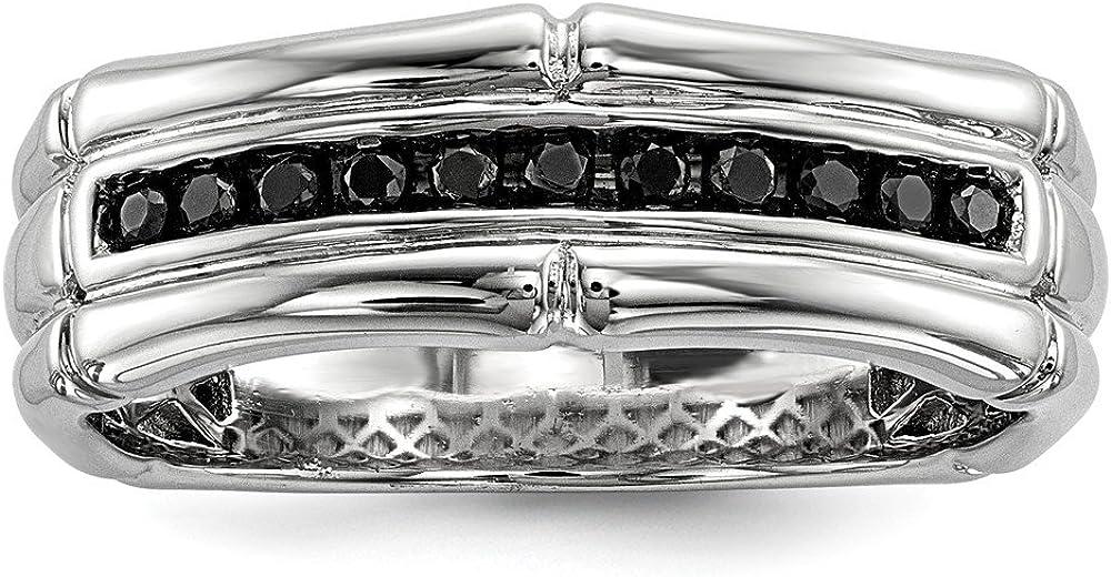 Brilliant Bijou Solid .925 Sterling Silver Black Diamond Mens Ring