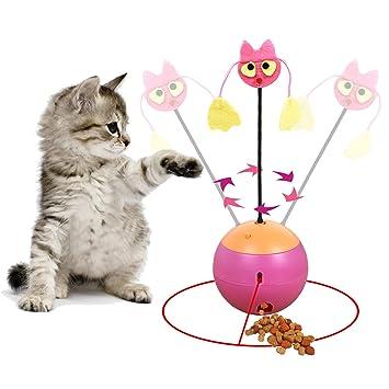 Vealind - Vaso Interactivo Multifuncional 3 en 1, Juguete para Gatos, Bola de luz giratoria con Juguete de Peluche y dispensador de Alimentos: Amazon.es: ...