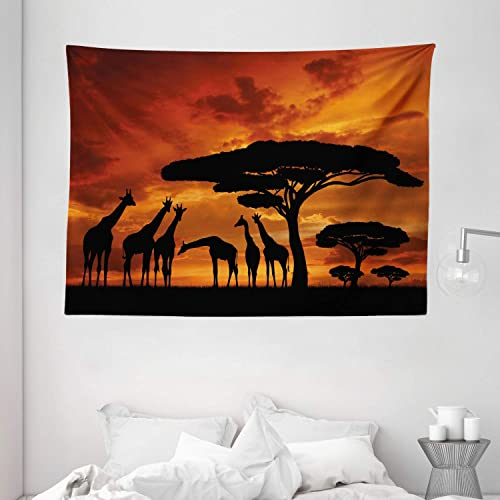 Ambesonne Africa Tapestry, Safari Animal with Giraffe Crew with Majestic Tree at Sunrise in Kenya, Wide Wall Hanging for Bedroom Living Room Dorm, 80 X 60 , Orange Black