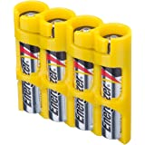 Storacell by Powerpax SlimLine AAA Battery Caddy, Yellow, Holds 4 Batteries