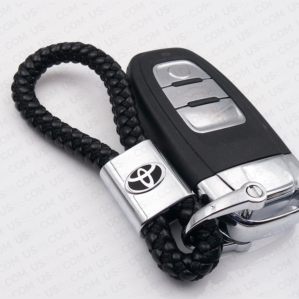 For Toyota Logo Emblem Key Chain Key Ring Metal Alloy BV Style Black Leather Gift Decoration Accessories