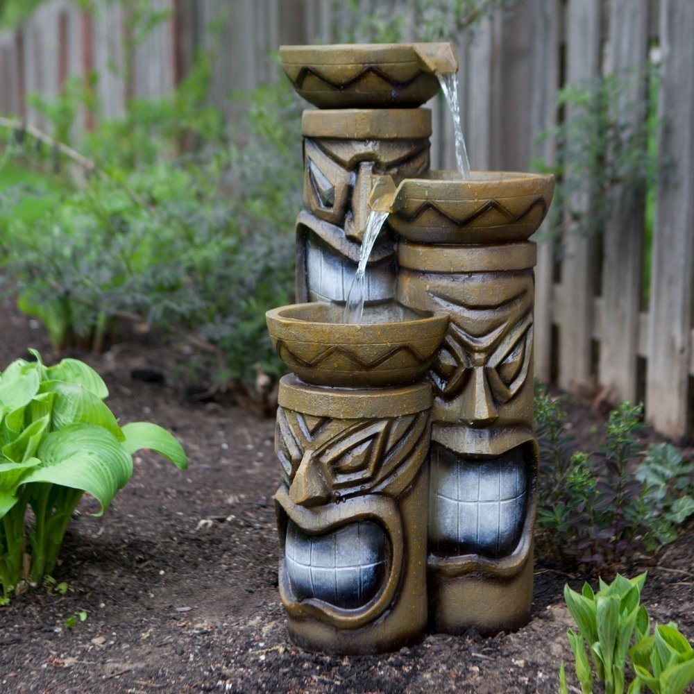 Amazon.com : Alpine Corporation Tiki Fountain With LED Lights : Free  Standing Garden Fountains : Garden U0026 Outdoor
