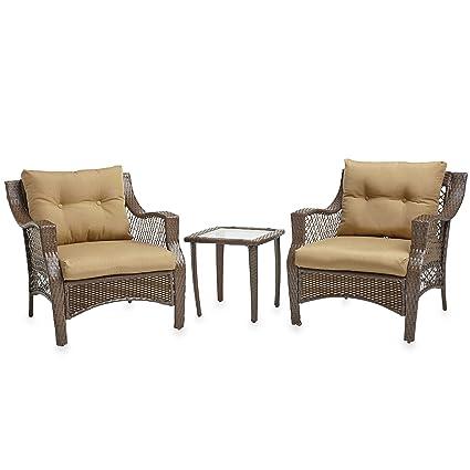 amazon com 3 piece outdoor patio wicker furniture set with deep
