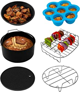 COSORI Air Fryer Accessories(C137-6AC), Set of 6 Fit all 3.7, 4.2, 5.3QT Air Fryer,FDA Compliant, BPA Free, Dishwasher Safe, Nonstick Coating, 2-Year Warranty (Renewed)