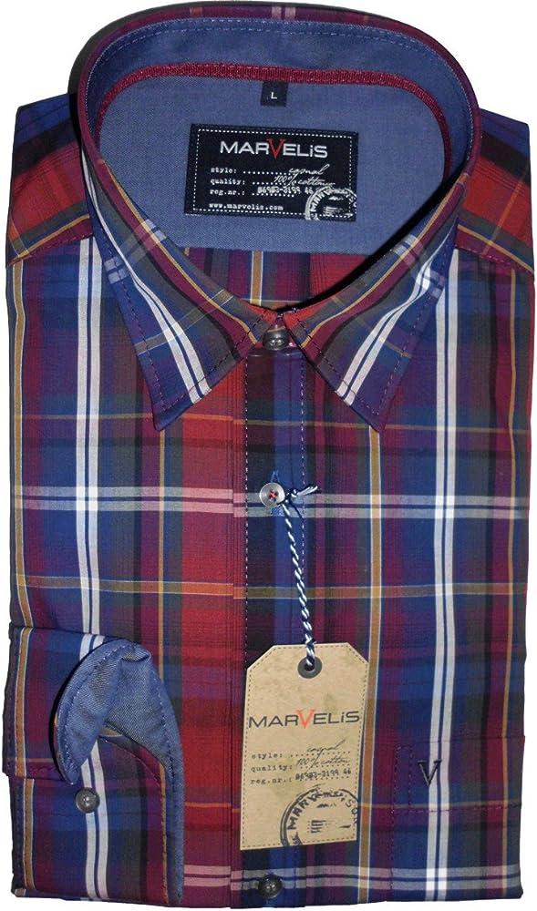 Tiempo libre Marvelis camisa de manga larga Casual rojo/azul/morado de cuadros - 2656, 64, 38: Amazon.es: Ropa y accesorios