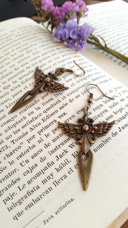 Amazon.com: Angelic Cross Earrings - Antique golden Angel Dangle Earrings: Handmade