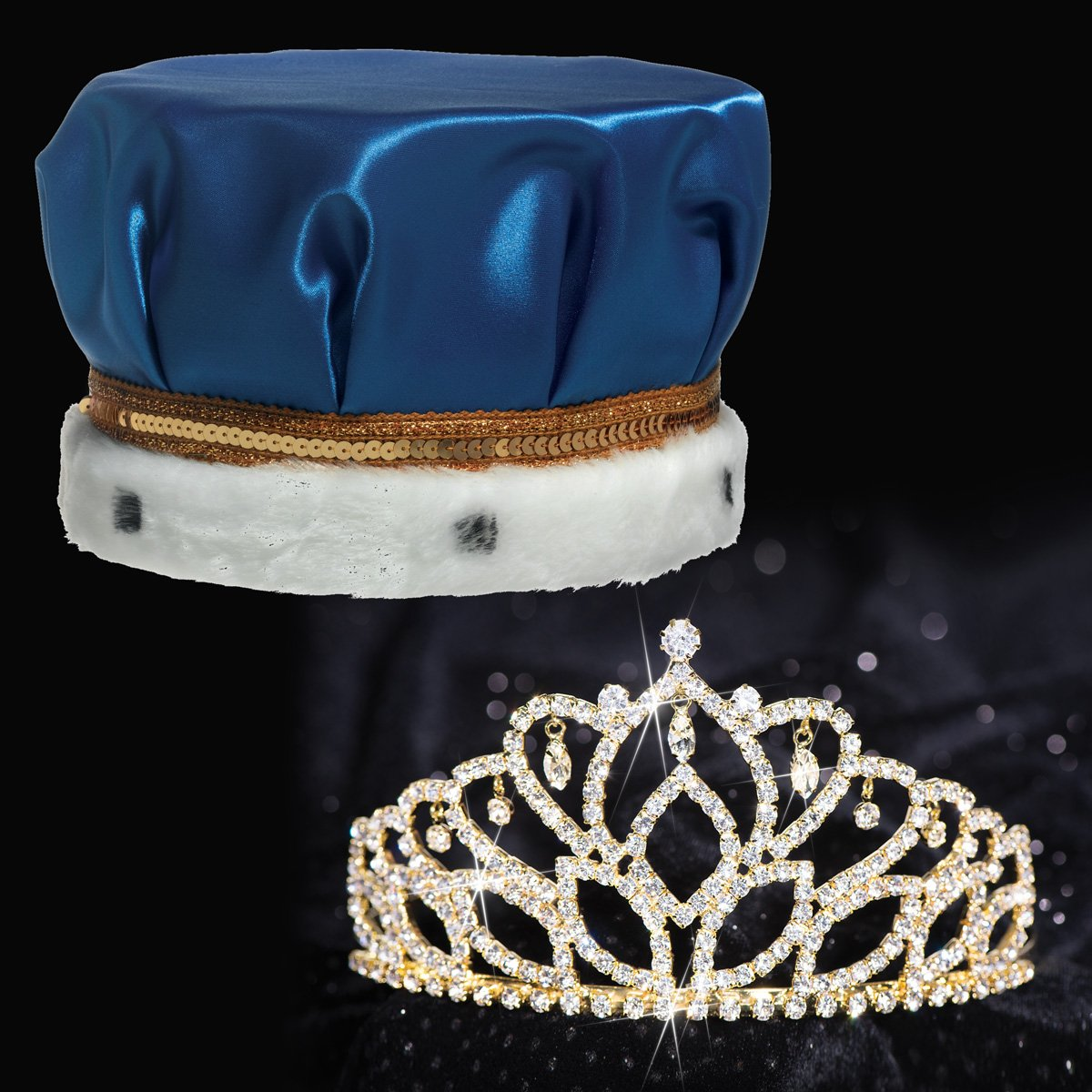 Blue Satin King Crown and Gold Mirabella Queen Tiara Royalty Set