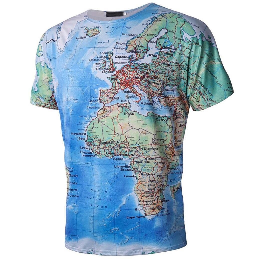 Amazon Big Wintialy Mens Casual Map 3d Printing Short Sleeve T
