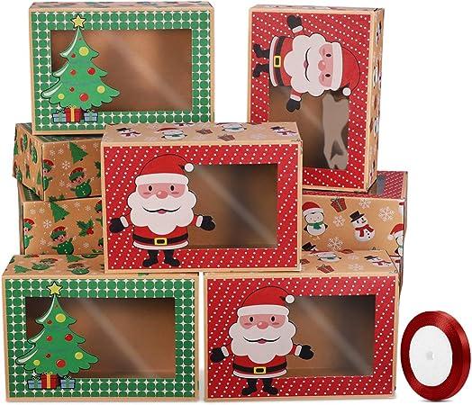Hemoton 12 cajas de galletas de Navidad, cajas de donut de regalo ...