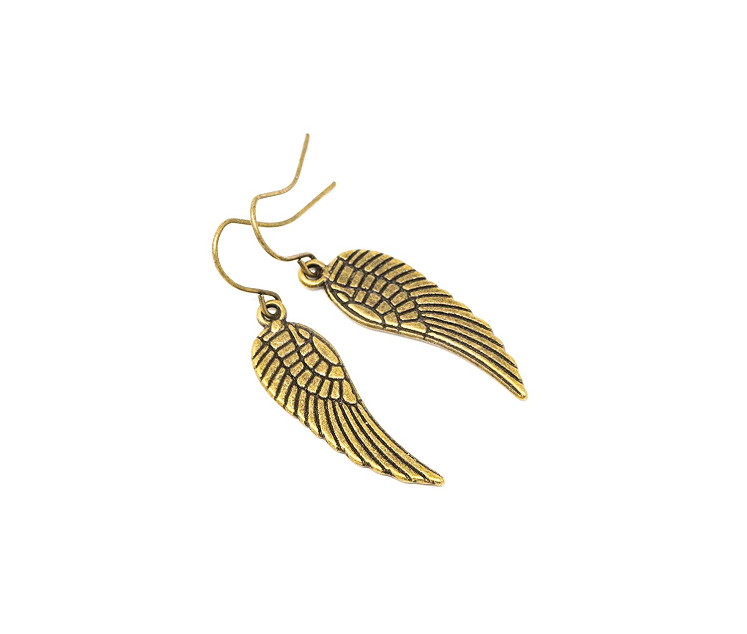 Antique Gold Plated Angel Wing Dangle Earrings