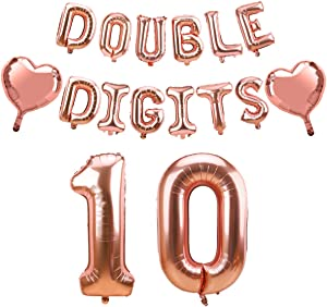 Luxiocio Double Digits Birthday Decorations, Happy 10th Birthday Balloons Banner for Girls, Rose Gold Double Digits 10 Year Old Birthday Party Supplies