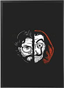 Artwork frame for La Casa De Papel Netflix with black wooden frame, it can be held in the wall