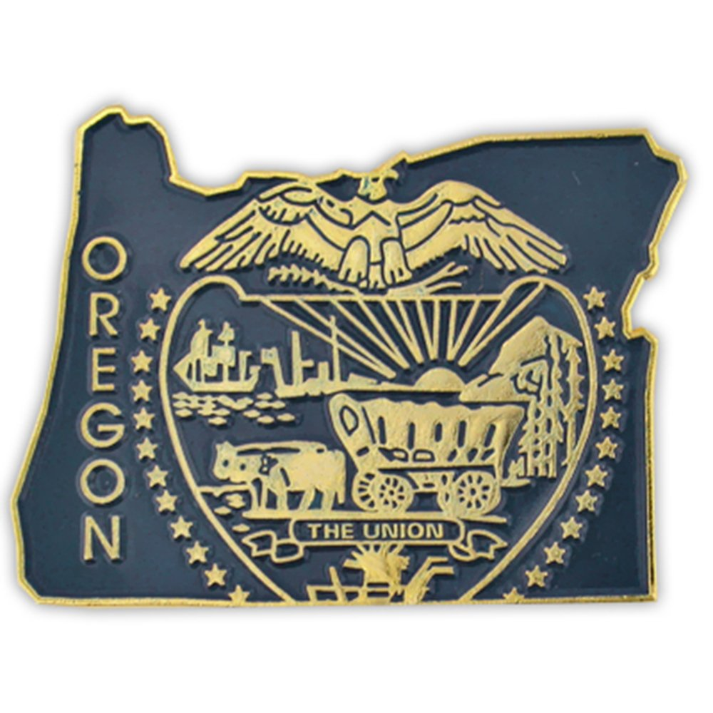 PinMart's State Shape of Oregon and Oregon Flag Lapel Pin