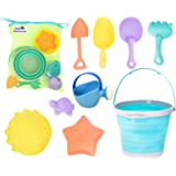 Dejaroo Beach Toys and Sand Toys Set for Kids - Collapsible Silicone Buckets and Shovels for Kids, Toddlers, Adults or Anyone