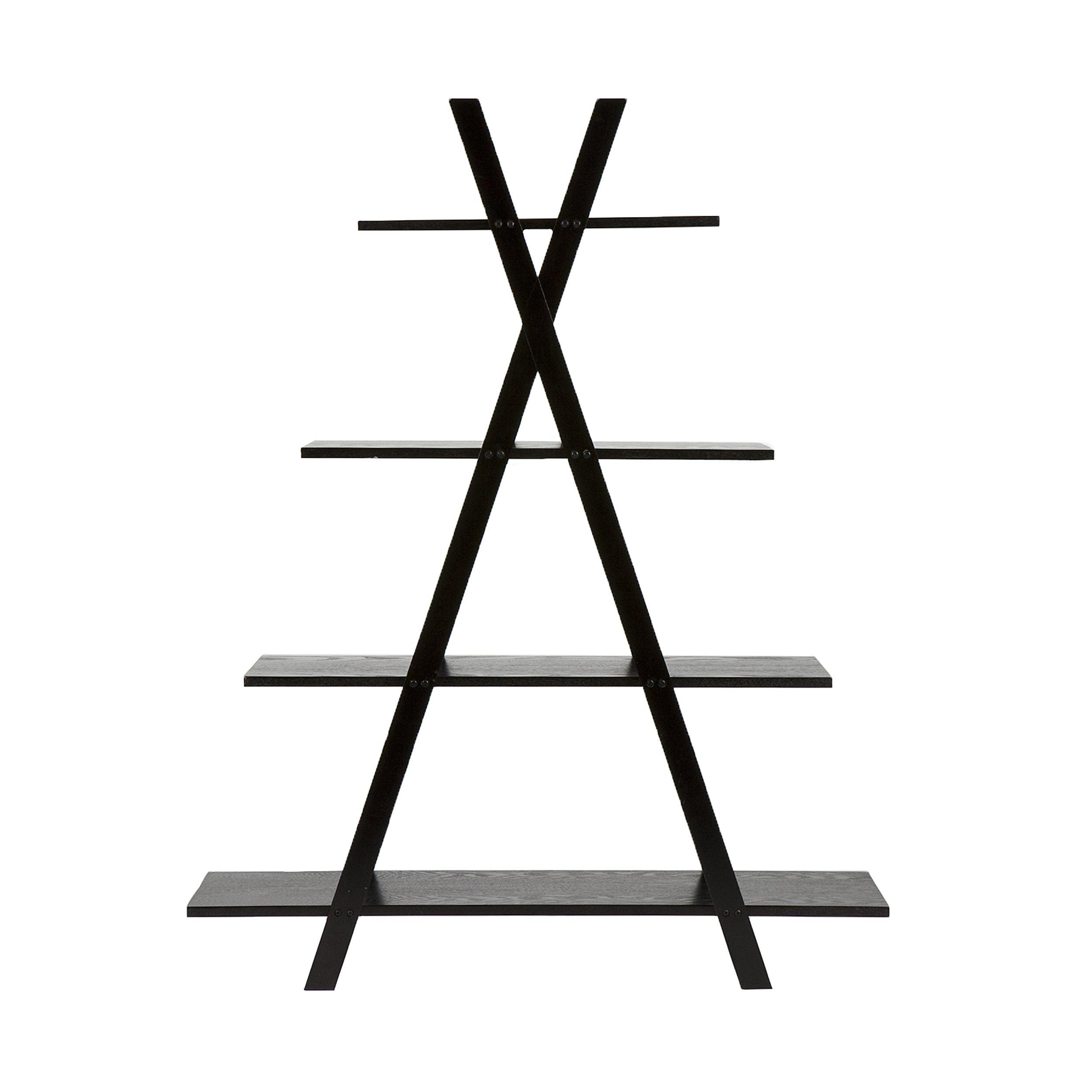 Southern Enterprises X Frame Etagere Bookshelf 59'' Tall, Black Finish