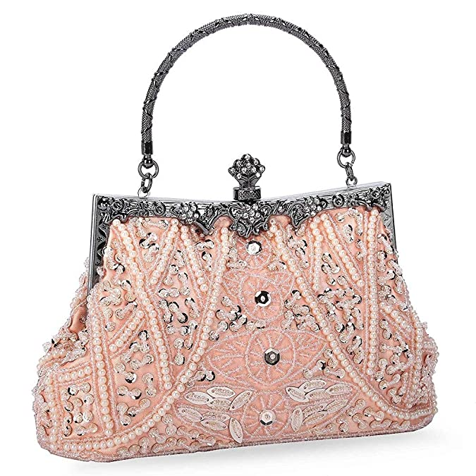 1920s Handbags, Purses, and Shopping Bag Styles KISSCHIC Womens Vintage Beaded and Sequined Evening Bag Wedding Party Handbag Clutch Purse  AT vintagedancer.com