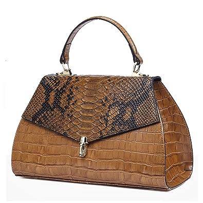 16640804ef QI WANG Sacs à main en cuir véritable femme bandoulière gaufré-Crocodile  peau de vache