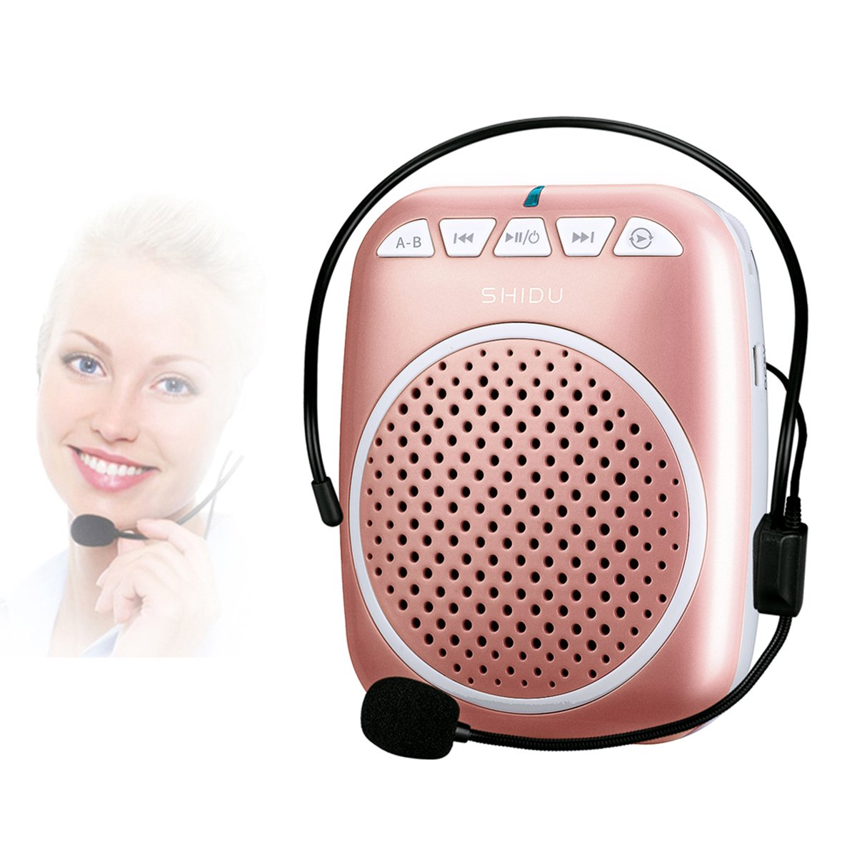 Portable Voice Amplifier, SHIDU S308 Ultra-Clear Rechargeable Amplifiers, Powerful Compact & Comfortable Wired Headset Microphone for Teachers, Kindergarener, Tour Guides, Coaches and More (Rose Gold)