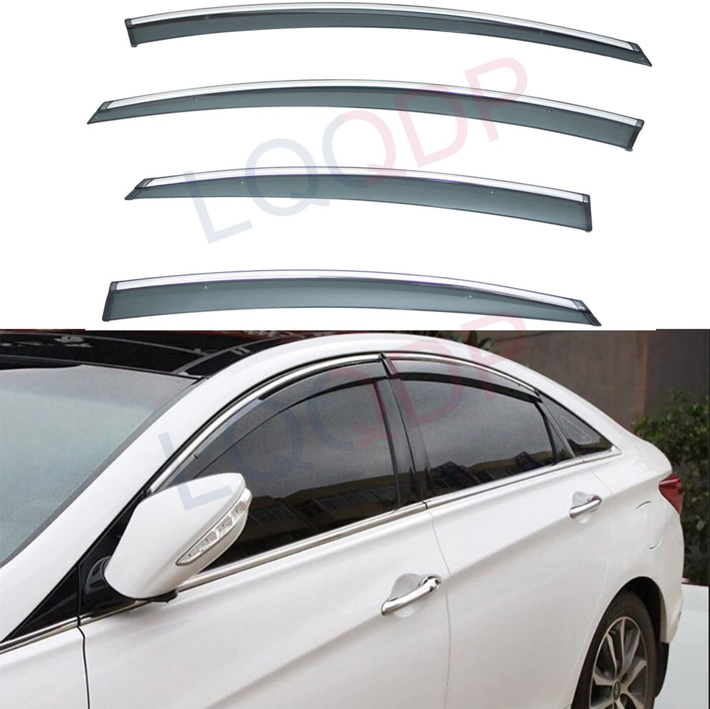 Amazon Com Lqqdp 4pcs Smoke Tint With Chrome Trim Outside Mount Tape On Clip On Style Pvc Sun Rain Guard Vent Shade Window Visors Fit 11 14 Hyundai Sonata I45 Yf 15 Hybrid Automotive