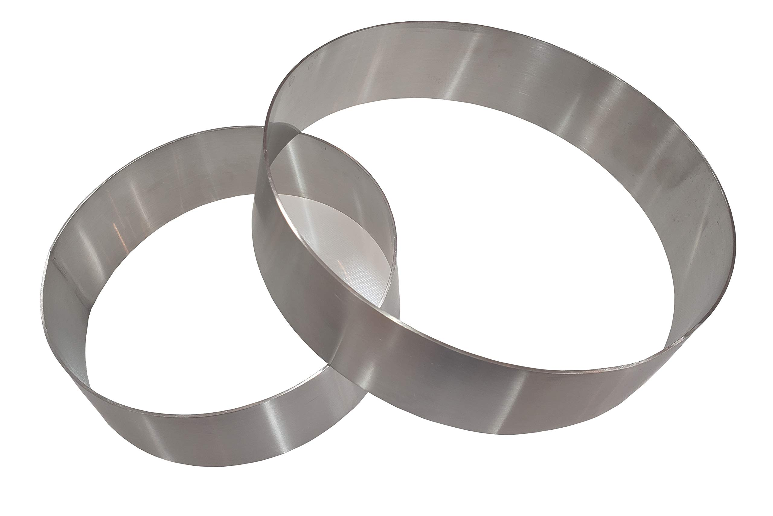Round Cake Mold/Pastry Ring, S/S, Heavy Gauge Set of 2. (6''x2'' & 8''x2'')
