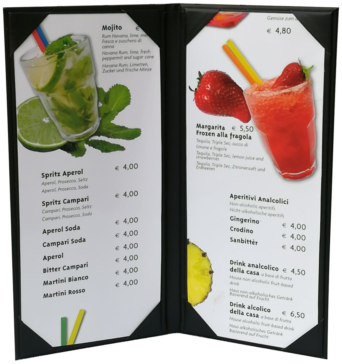 5 Pcs of Restaurant Menu Covers Holders 4.75'' X 11'' Inches, Double View,Sold By Case,With Clear PVC sheets for Paper Protection