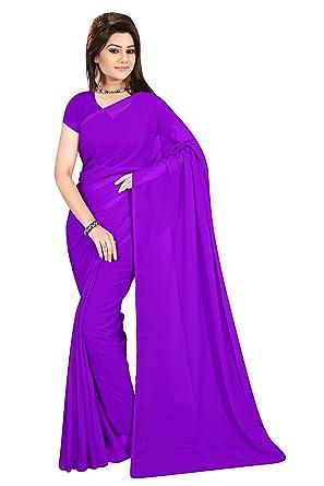 e0f9d8e162 Sidhidata Textile Women's Plain Solid Pure Georgette saree With Unstitched  Blouse Piece (plain purple_purple_Free Size): Amazon.in: Clothing &  Accessories