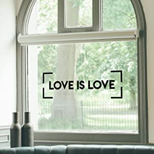 "Vinyl Wall Art Decal - Love is Love - 10"" x 31"" - Trendy Minimal LGBT Quote Sticker for Home Couples Bedroom Living Room Equality Gay Lesbian Pride Event Decor (Black)"