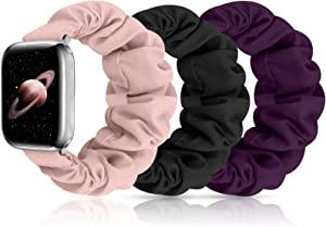 MEULOT Scrunchies Watch Band for Women, Soft Replacement Elastic Wristband Compatible for iWatch Series 6 5 4 3 2 1 SE Compatible with Apple Watch Band 38mm 40mm ( Black+Purple+Pink 38mm/40mm S )