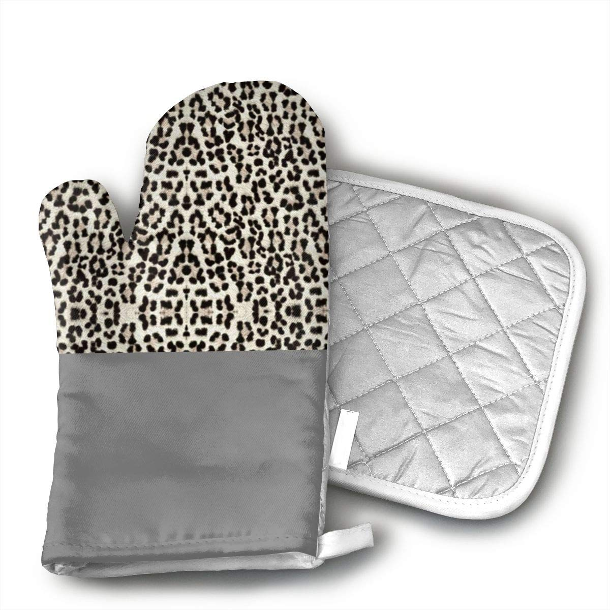 FSDGHVFIJTT Snow Leopard Bigger and Better Resistant Oven Gloves to Protect Hands and Surfaces with Non-Slip Grip, Hanging Loop-Ideal for Handling Hot Cookware Items