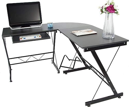 Large Computer Desk, Charavector Modern Simple Laptop Desk, 63-in Desk for Writing, Games and Home Work, Black L Desk