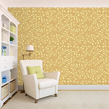 100yellow Floral Design Yellow Color Peel And Stick Self