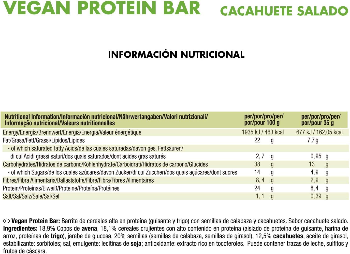 Weider Vegan Protein Bar. Sabor Cacahuete Salado. Mezcla de proteína vegetal, cereales y semillas. Sin gluten. Sin lactosa. Sin aceite de palma (3x35 ...