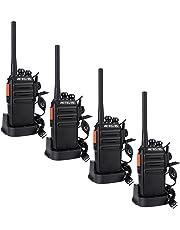 Retevis RT24 Walkie Talkie Recargable PMR 446 Two Way Radio 16 Canales 50CTCSS 210DCS con USB Base de Carga Transmisores-receptores Radio Bidireccional con Auriculars (Negro, 2 Par)