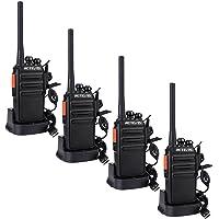 Retevis RT24 Plus sans Licence Talkie Walkie Professionnel Rechargeable Radio PMR446 Radio Bidirectionnelle Scan Surveillance 16 Canaux CTCSS/DCS avec Écouteurs (Noir,4 pcs)