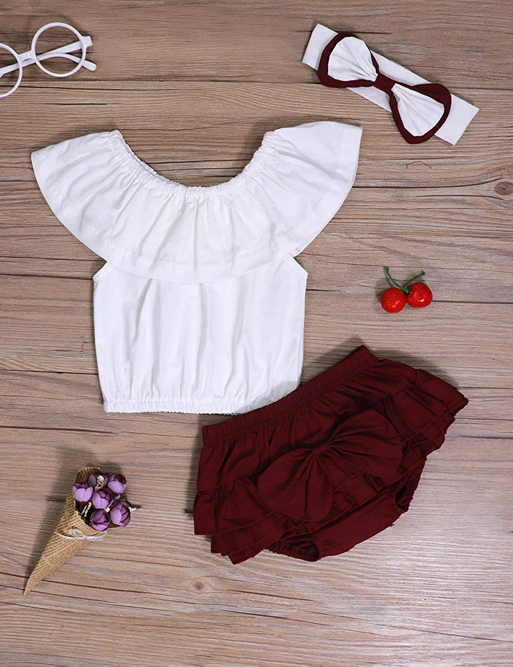 Baby Girl Summer Clothes Off Shoulder Lace Top and Denim Short with Headband Outfits Set