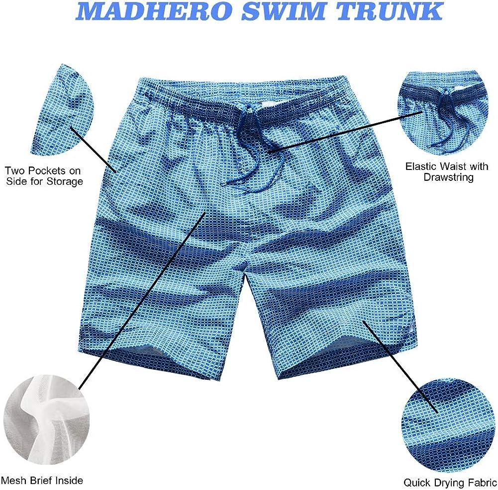 MADHERO Men Swim Trunk Quick Dry Bathing Suit Mesh Lining