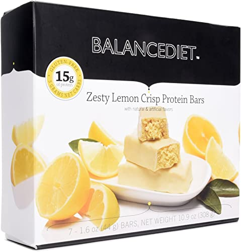 BalanceDiet Protein Bar 15g of Protein Low Carb 7 Bar Box Zesty Lemon Crisp