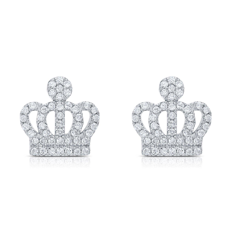 925 Sterling Silver Cubic Zirconia Royal Crown Shape Stud Earring