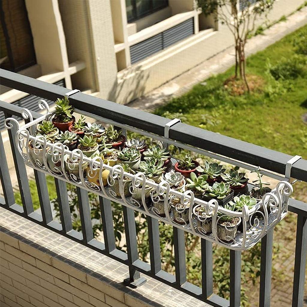 Soporte de Flor Colgante al Aire Libre, Soporte de la Planta del balcón de la verja del Hierro labrado, Estante Colgante de la barandilla del hogar (Color : Blanco, Tamaño : 50cm)