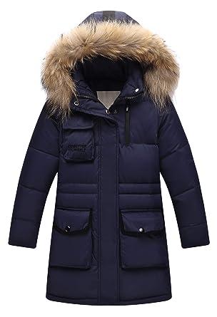 502ecd2e809e Amazon.com  Child Kid Girl Simple Solid Hooded Thick Winter Parka ...