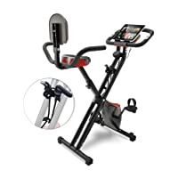 Sportstech F-Bike X100 & X150-4in1 Heimtrainer - X Bike - Einzigartiges Zugbandsystem - Handpulssensoren - Ergometer - Hometrainer - Faltbares Fitness-Fahrrad - Tablethalterung Rückenlehne klappbar