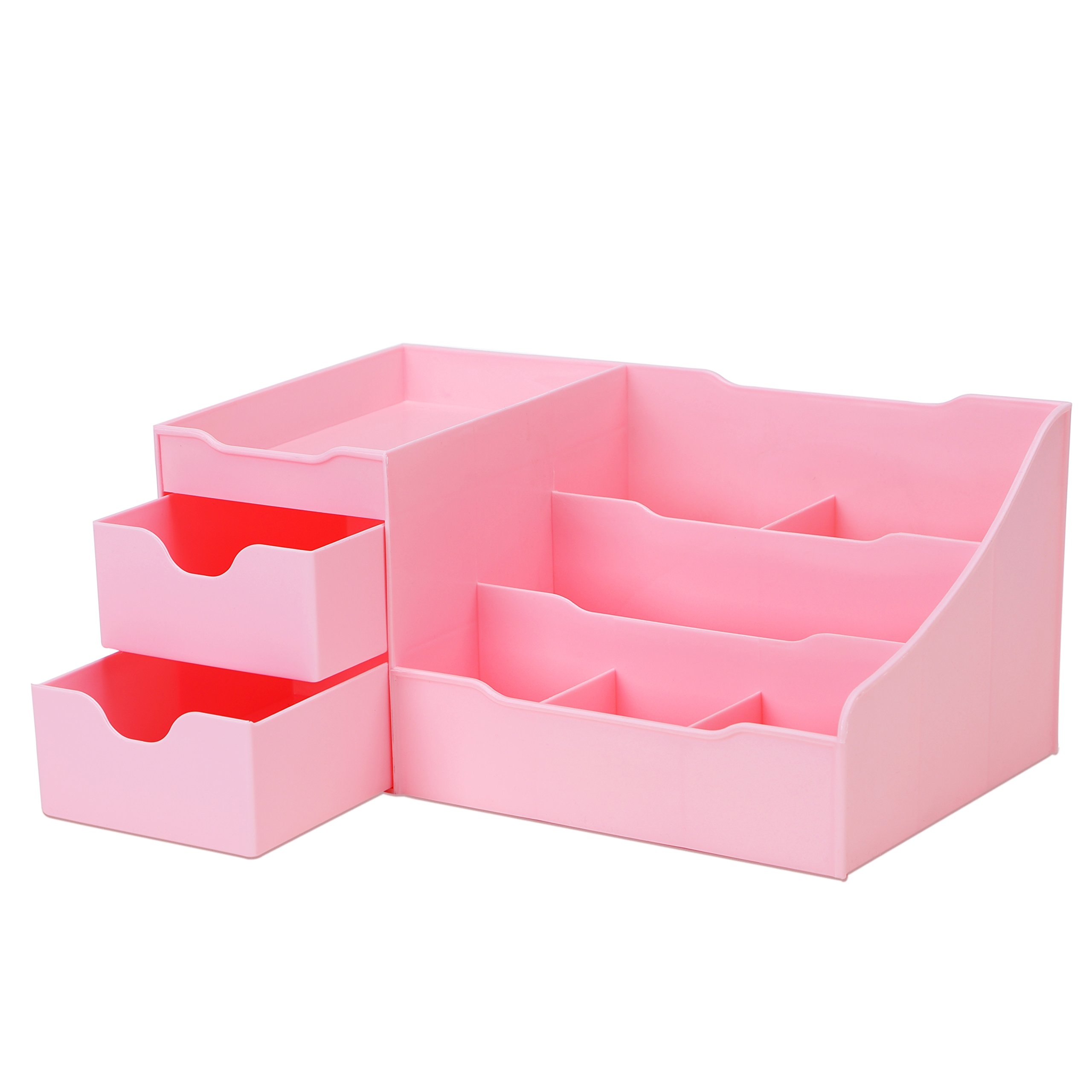 Uncluttered Designs Makeup Organizer with Drawers (Pink)